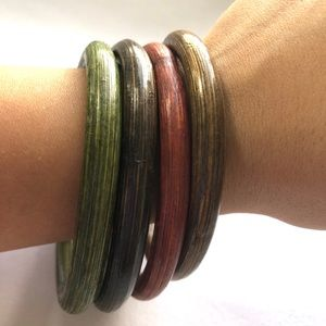 Wood Bracelet Bangle Set of 4 New